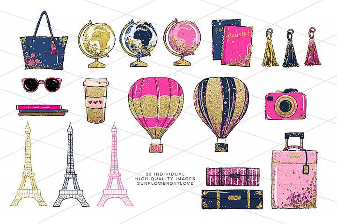 Glam Adventure Travel Clipart, Travel Fashion Clipart.