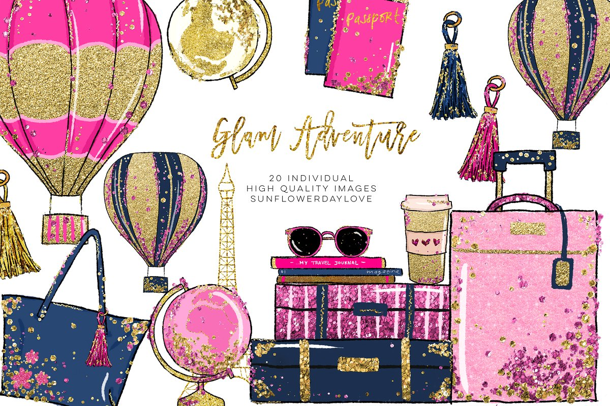 Glam Adventure Travel Clipart.
