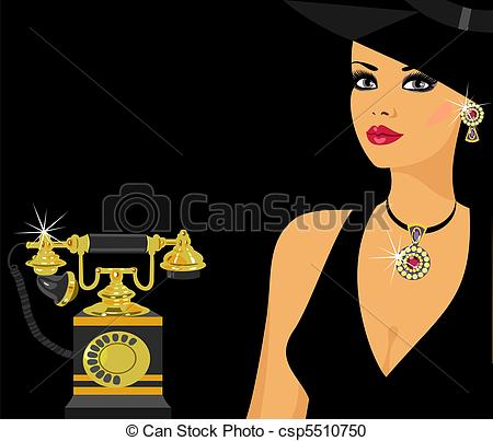Stock Illustration of glamour in vintage style.