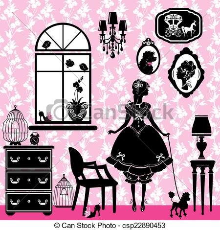 Vector Clipart of Frames with glamour accessories, furniture, girl.