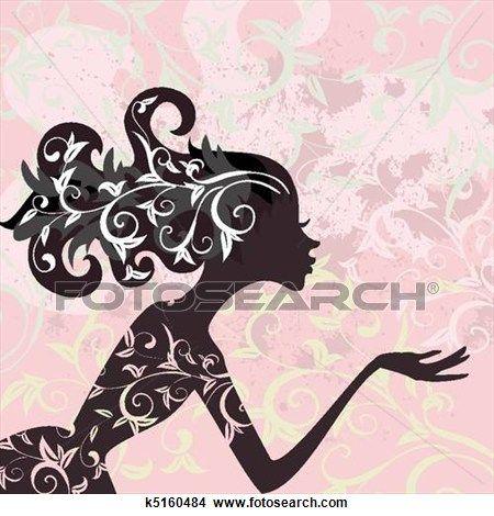 Glamour girl hair ornament Clipart.
