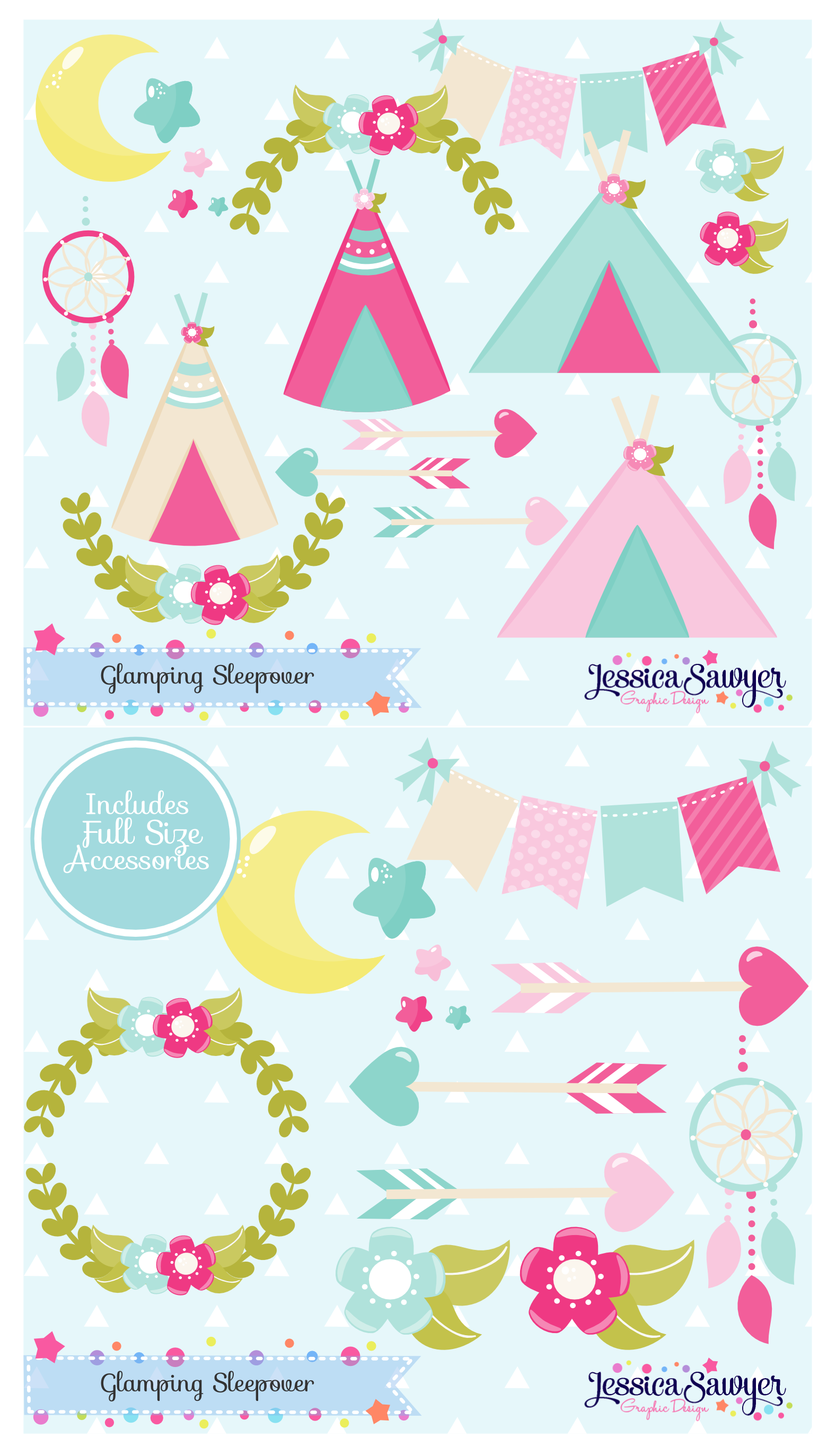 Glamping clipart for camping party or sleepover, crafts, and.