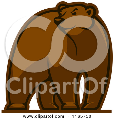 Clipart of a Brown Bear Glancing.