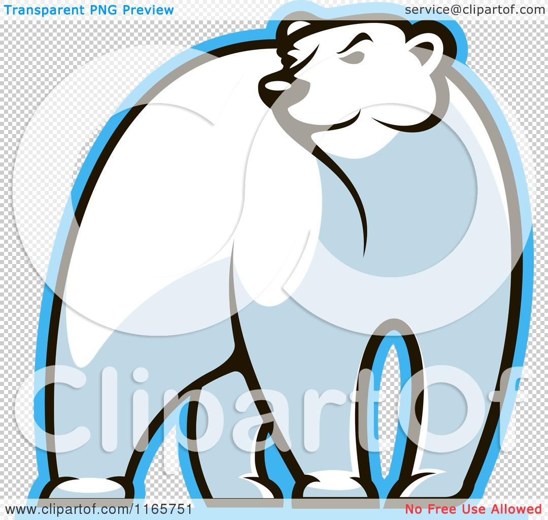 Clipart of a Polar Bear Glancing.