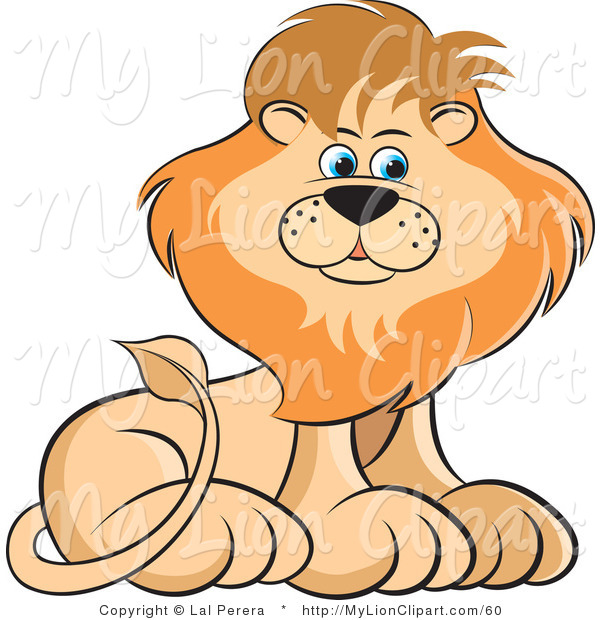 Clipart of a Male Lion Sitting and Glancing to the Right on White.