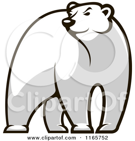 Clipart of a Black and White Bear Glancing.