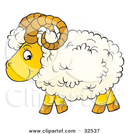 Clipart Illustration of a Curly Horned Sheep With Fluffy Wool, In.