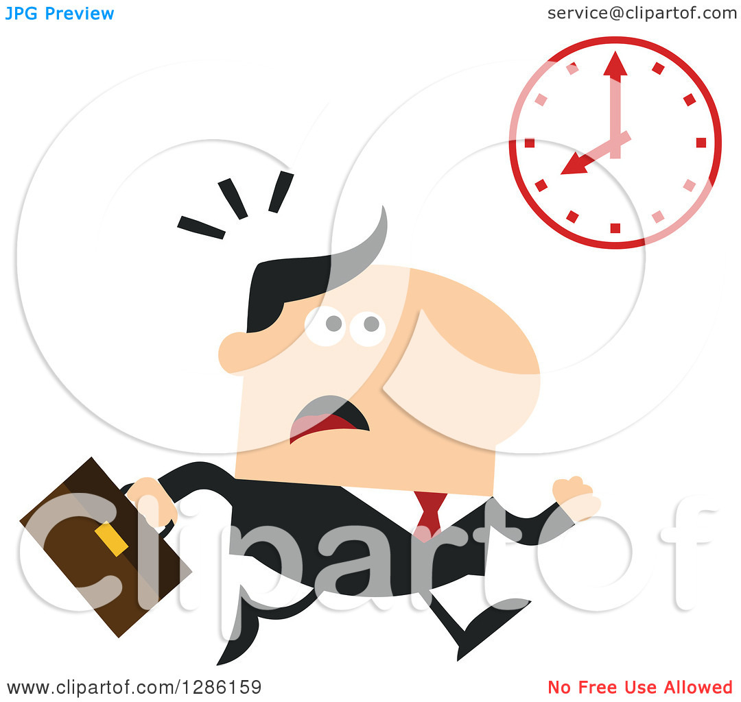 Clipart of a Modern Flat Design of a White Businessman Running.