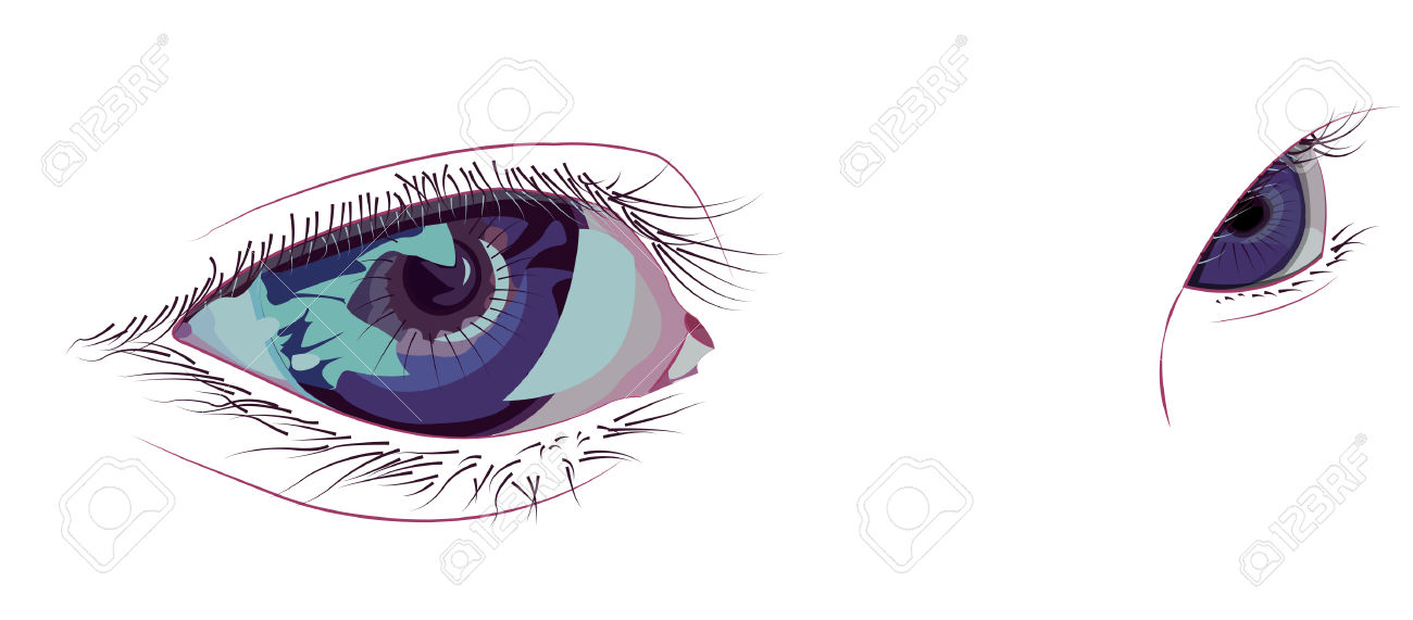 Glamour Side Glance Violet Eyes Royalty Free Cliparts, Vectors.