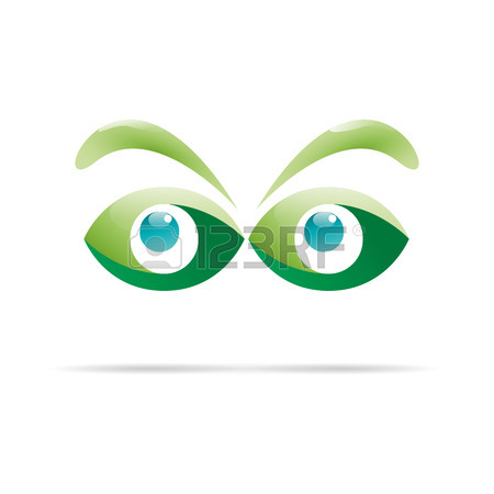 Vector Sign Green Eyes, Curious Glance Royalty Free Cliparts.