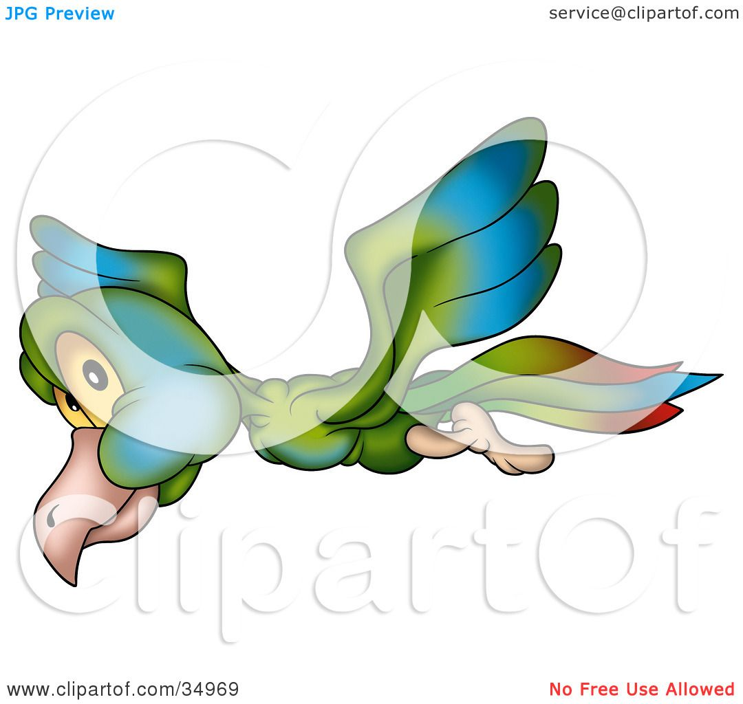 Clipart Illustration of a Flying Green, Blue And Red Bird With.
