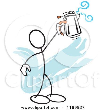 Cartoon of a Tired Woman Glaring at a Good Morning Coffee Mug.