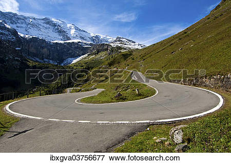"Picture of ""Hairpin curve, mountain road to the Klausen Pass in."