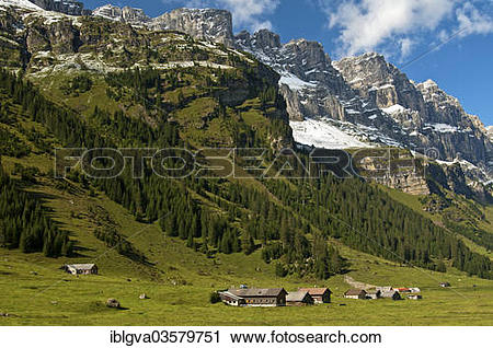 """Stock Photography of """"Mountain farms in the Urnerboden high valley."""