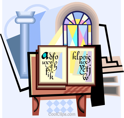 Bibel mit Weihwasser und Glasmalerei Vektor Clipart Bild.
