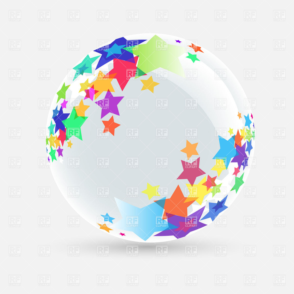 Glass ball decorated with stars Vector Image #8402.