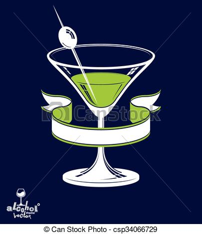 Vector Illustration of Realistic 3d martini glass with olive berry.