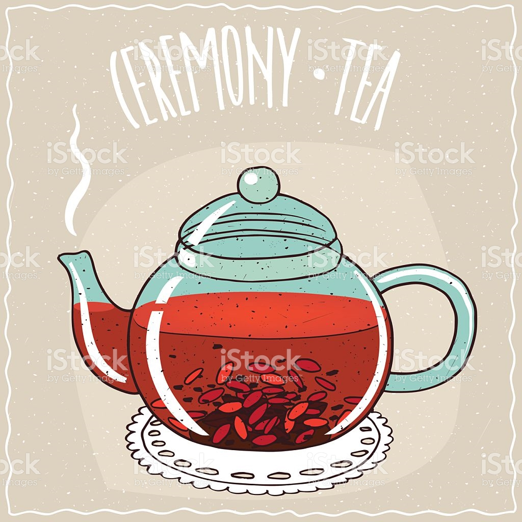 Glass Teapot With Tea With Goji Berry stock vector art 623768706.