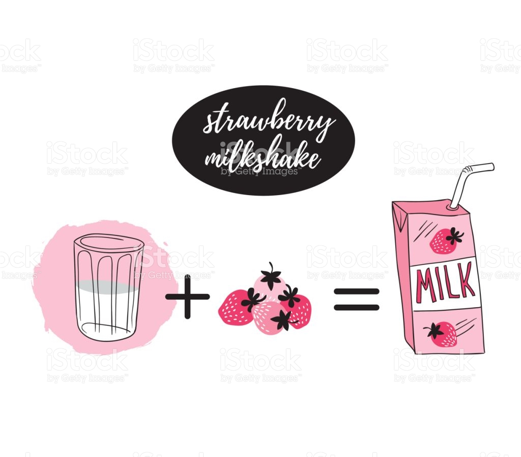 Vector Illustration With Stylish Milk Box Glass And Pink Berry.