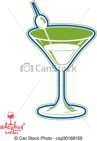 Clipart Vector of Realistic 3d martini glass with olive berry.