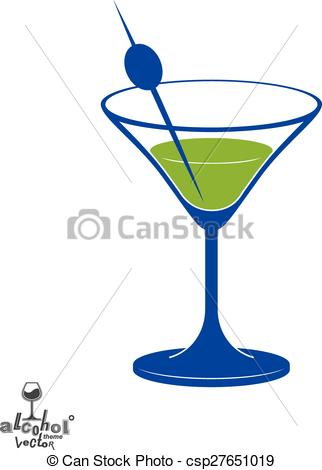Vector Clip Art of Martini glass with olive berry, alcohol and.