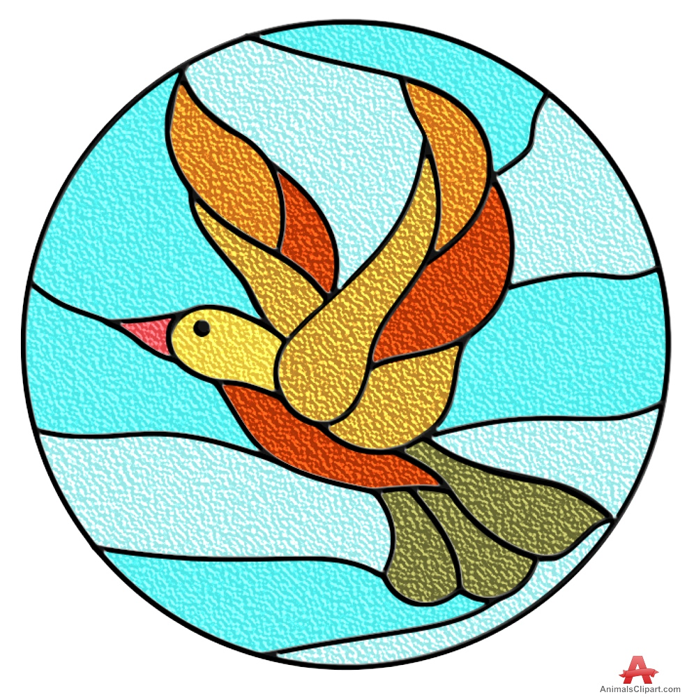 Colored Bird Stained Glass Window.