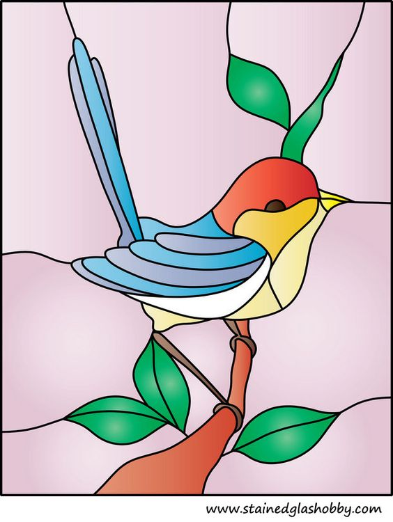 bird stained glass pattern.