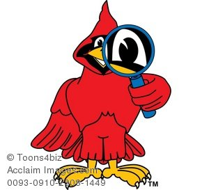Clipart Cartoon Cardinal Searching by Looking Through a Magnifying.