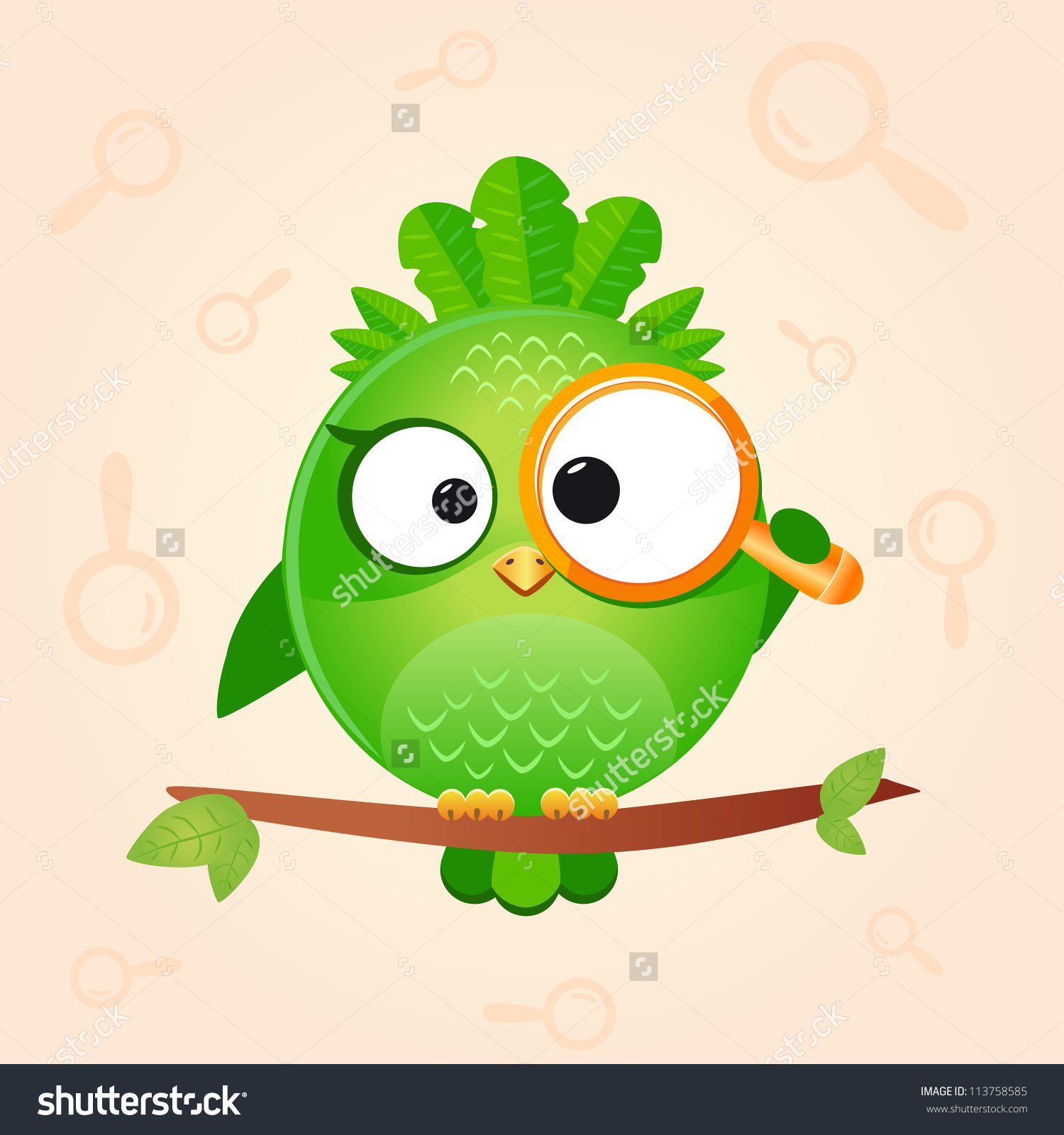 Illustration Cute Funny Bird Looking Through Stock Vector.