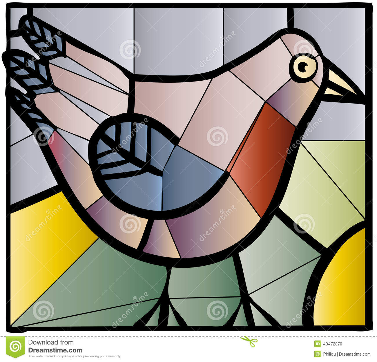 Bird Stained Glass Stock Vector.