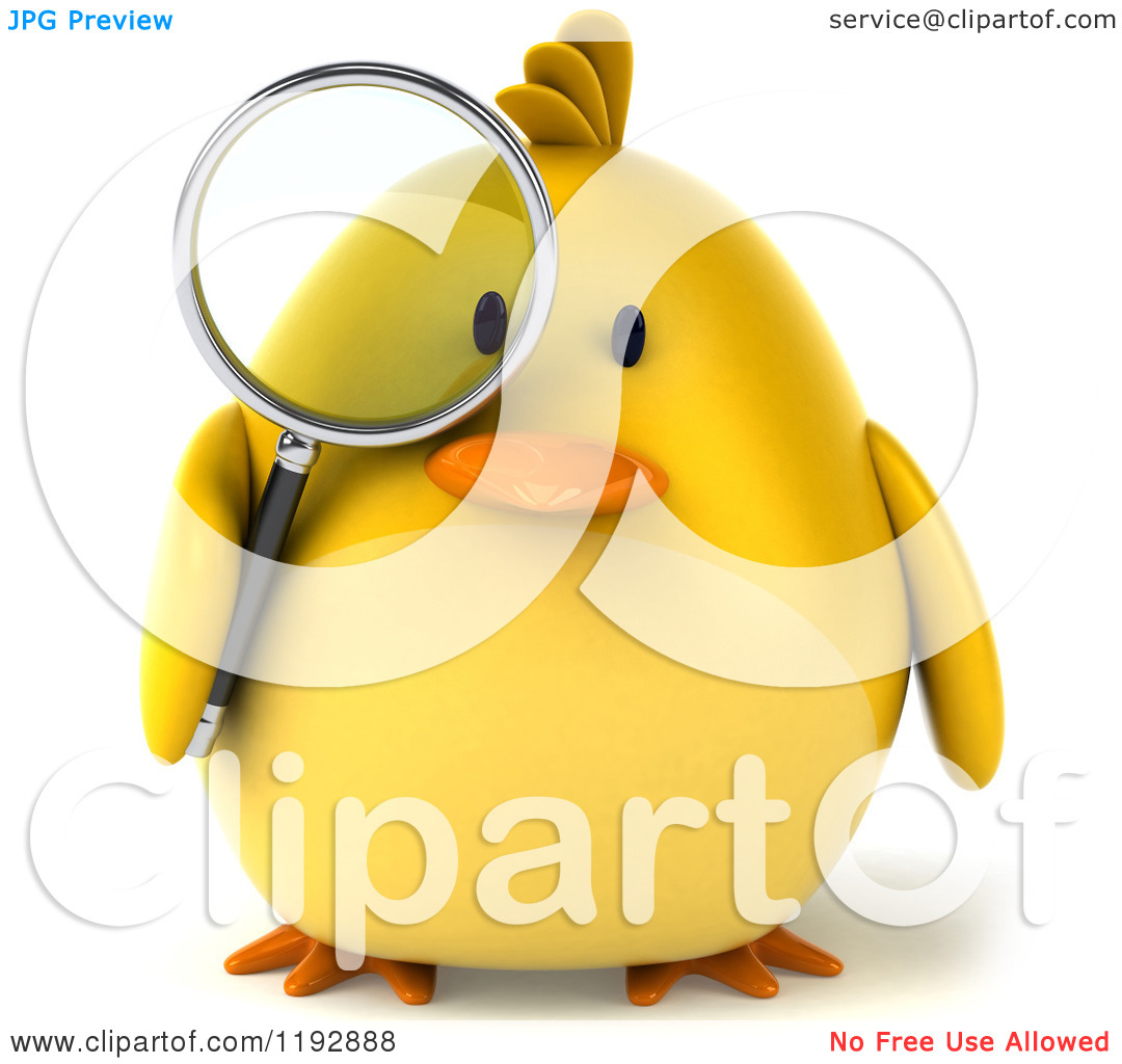 Clipart of a 3d Chubby Yellow Bird Chicken Using a Magnifying.