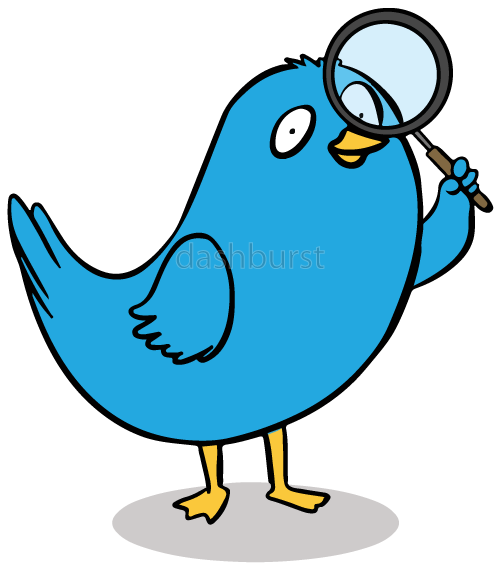 Blue Bird with Magnifying Glass.