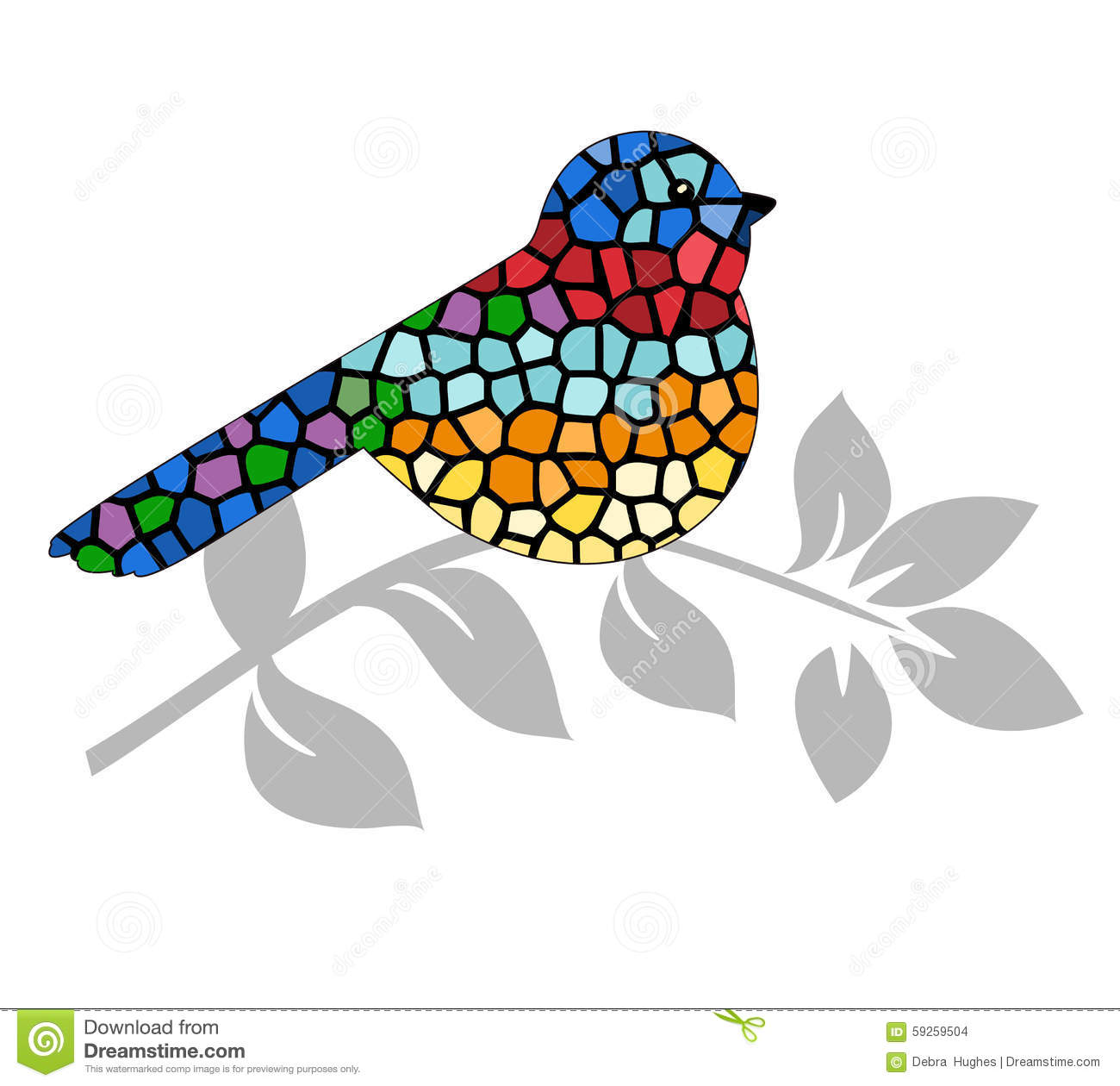 Stained Glass Bird Stock Vector.