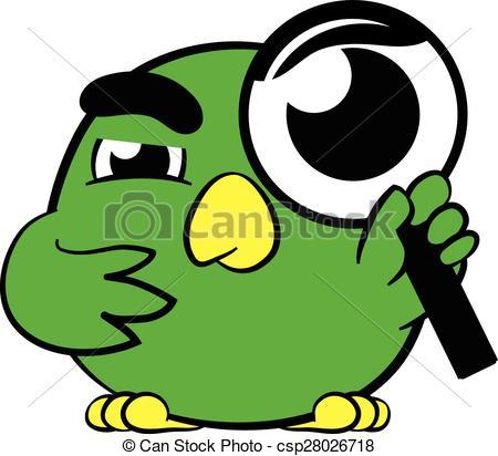 Vector Clip Art of Cute little bird magnifying glass.