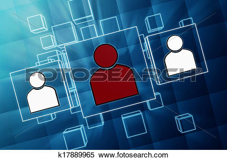 Stock Illustration of people signs in blue glass blocks k17889965.