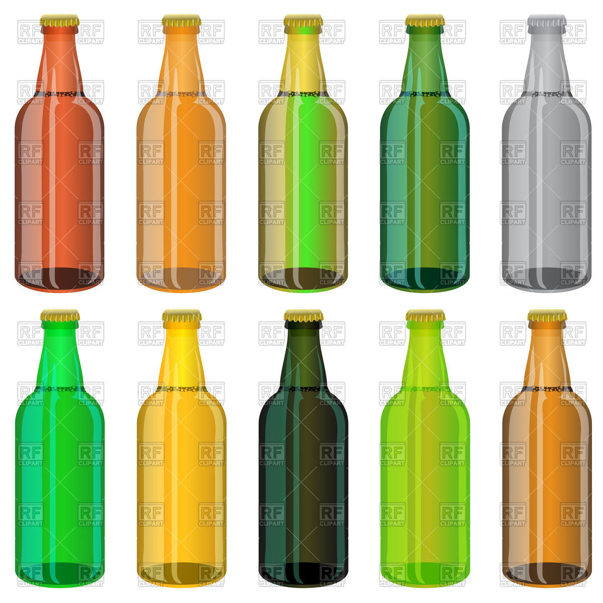 Set of colorful beer glass bottles Vector Image #76988.