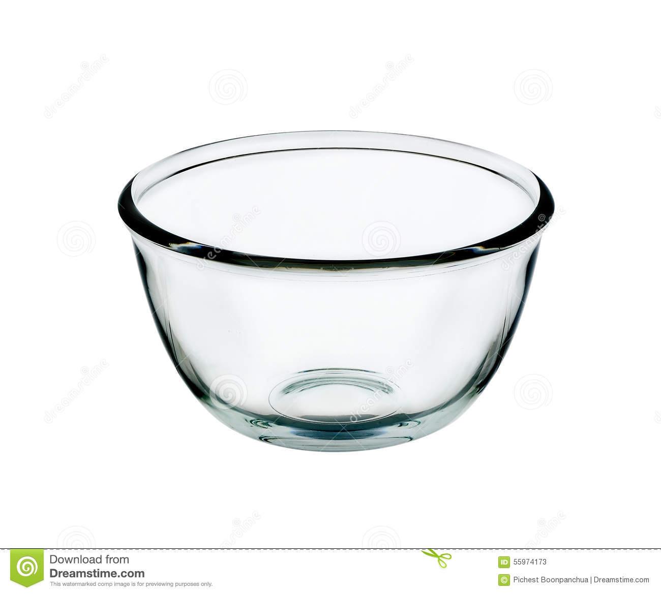 Empty Glass Bowl Stock Photo.