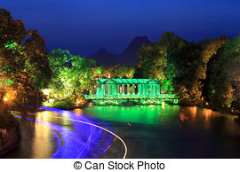 Stock Image of glass bridge at the banyan lake guilin guangxi.
