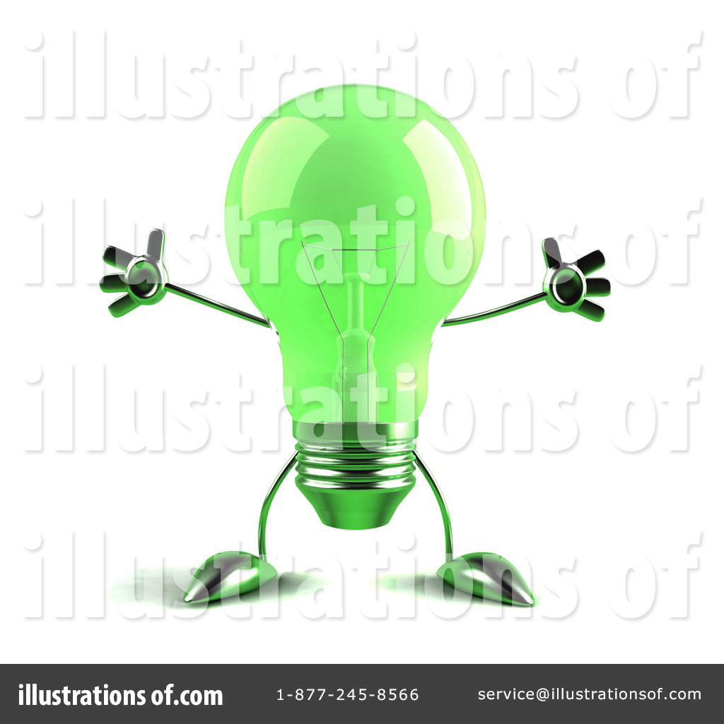 Glass Light Bulb Character Clipart #55202.