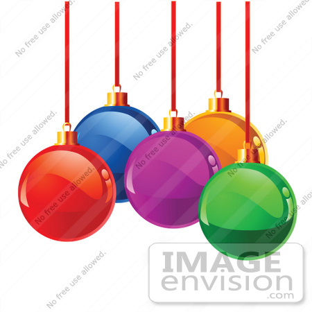 Clip Art Illustration Of A Cluster Of Shiny Glass Colorful Xmas.