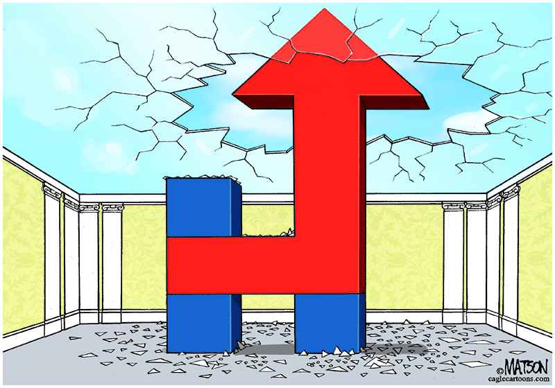 Cartoons of the day: Hillary Clinton breaks the glass ceiling.