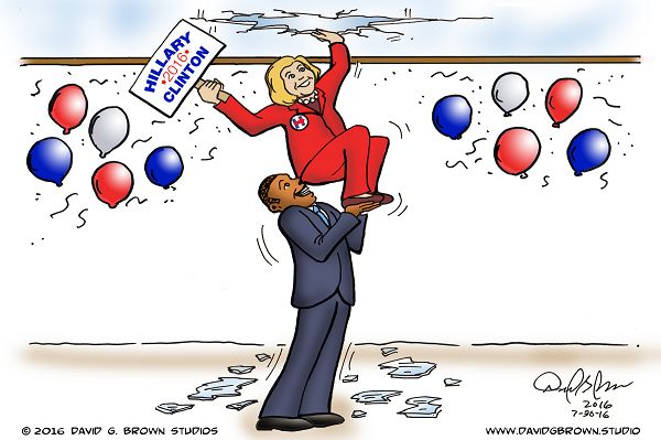 Hillary breaks the glass ceiling!: 08/04/2016 Cartoon by David G.