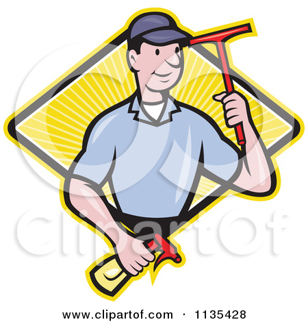 Clipart Illustration of a Lime Green Man Window Cleaner Standing.