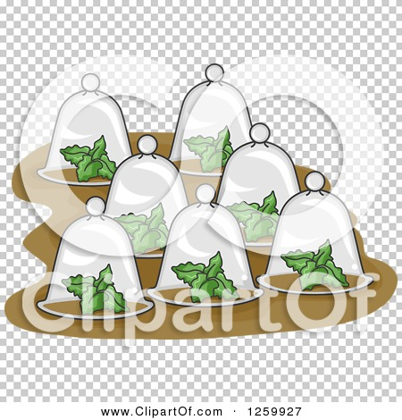 Clipart of Plants Under Glass Cloches.