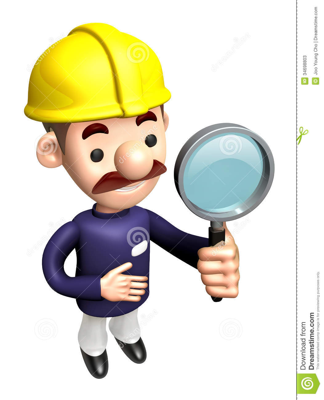 3D Construction Site Man Mascot Examine A With Magnifying Glass.