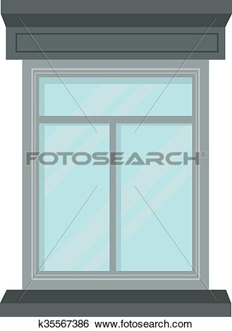 Clip Art of Window open interior frame glass construction isolated.