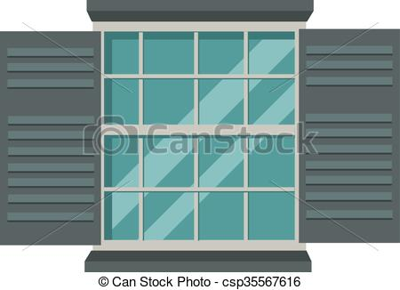 Vector Clip Art of Window open interior frame glass construction.
