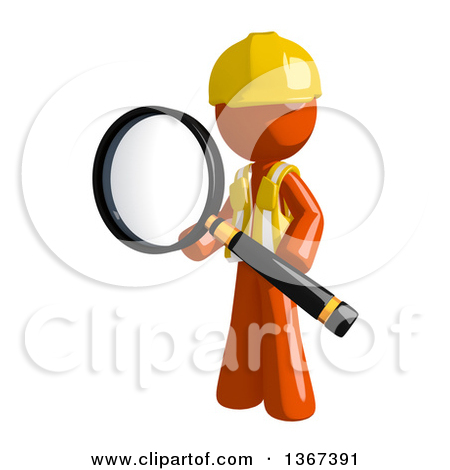 Clipart of an Orange Man Construction Worker Holding a Magnifying.