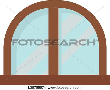 Clipart of Window open interior frame glass construction isolated.