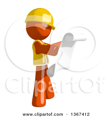 Clipart of a Contractor Orange Man Worker Searching or Inspecting.